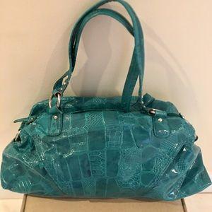 Handbags - Fashionable Handbag, Teal, Patent leather
